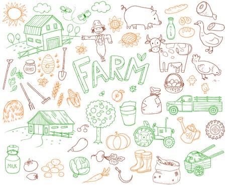 Doodle Farming Icons Set Illustration