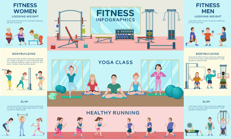 Sport Fitness Infographic Horizontal Banners