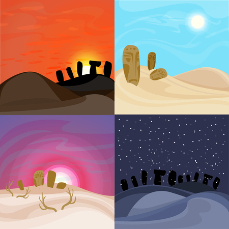 Mooie woestijnlandschappen instellen Stock Illustratie