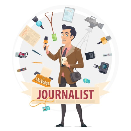 Colorful Reporter Round Concept