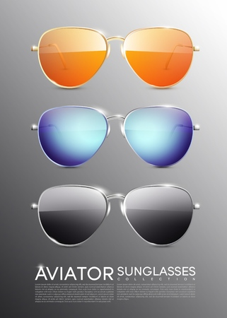 Modern Aviator Sunglasses Set Illustration