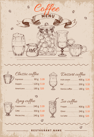 커피 손으로 그려진 된 레스토랑 메뉴 음료 아이콘 집합 및 착용 된 배경 벡터 일러스트 레이 션 가격 목록 일러스트