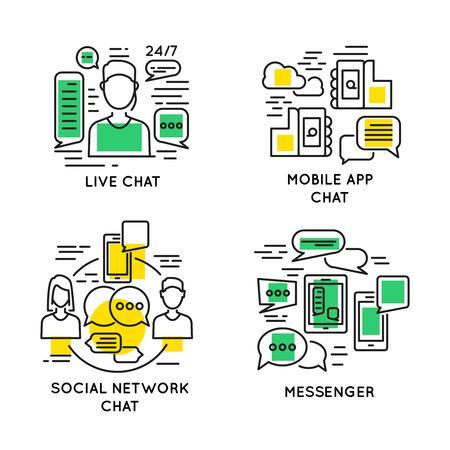 선형 사람 온라인 커뮤니케이션 개념 일러스트