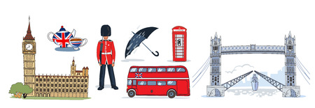 london tower bridge: Colored isolated london icon set with big ben Tower Bridge and other attractions vector illustration Illustration