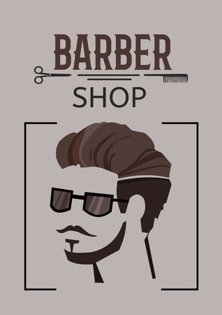 Sketch barber shop poster with inscription hipster face with stylish beard mustache hairstyle in sunglasses vector illustration Иллюстрация