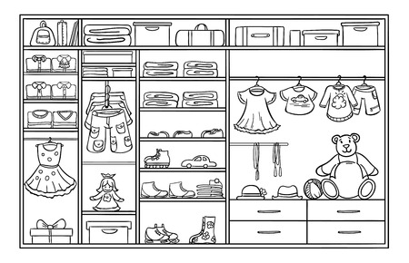 hangers: Doodle monochrome children wardrobe concept with male and female clothing footwear hats rollers bags toys vector illustration