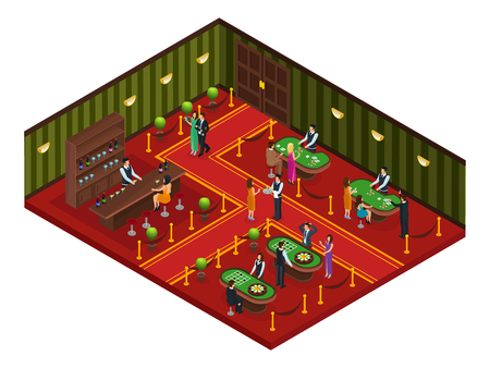 wheel of fortune: Isometric casino gaming room concept with visitors playing poker roulette and woman drinking cocktail at bar vector illustration
