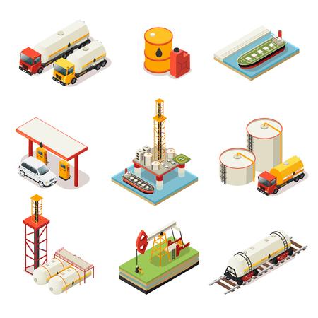 Isometric Oil Industry Set Illustration