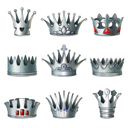 Cartoon Silver Royal Crowns Set