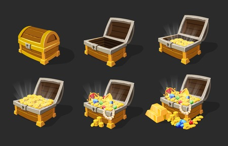 Zestaw animacji Isometric Treasure Chests