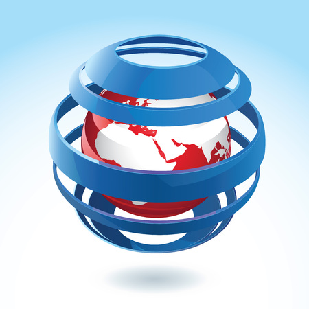 Black and red earth globe icon with blue ribbon around on background with gradient effect 3d vector illustration Illustration