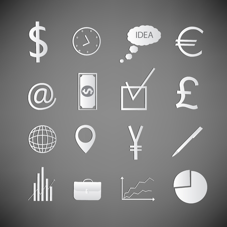 Doodle business icons set in white color with signs and office accessories on grey background with dark corners isolated vector illustration 向量圖像