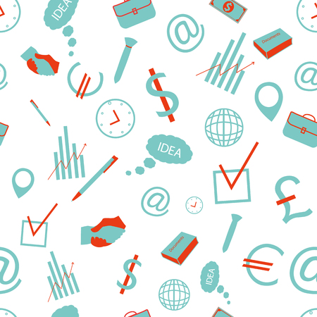 Business hand drawn seamless pattern with office accessories in doodle style vector illustration