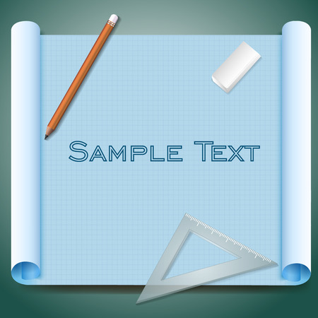 Architects squared paper with sample text pen eraser and triangular ruler on green background realistic vector illustration Illustration