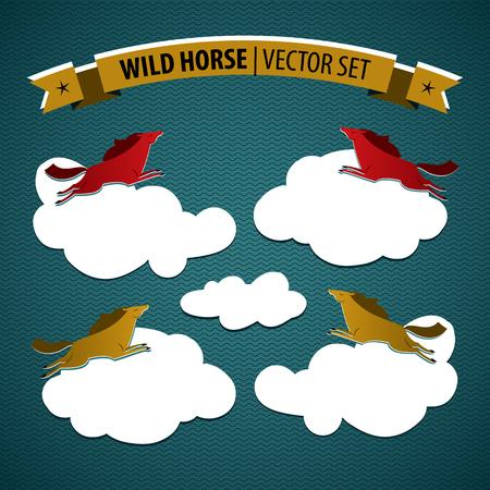 Het wilde paard kleurde geïsoleerd die pictogram met multicolored paarden op coluds op blauwe vectorillustratie wordt geplaatst als achtergrond
