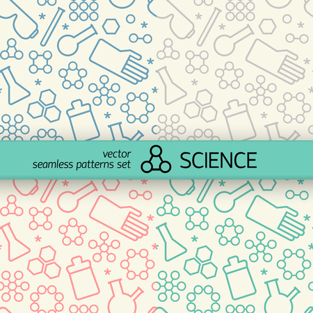 Colorful doodle style science chemistry symbols seamless patterns set with text field vector illustration