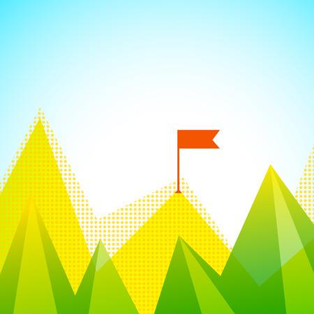 Mountain Peaks With Flag Illustration Çizim