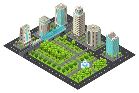 Isometric Modern Cityscape Concept Illustration