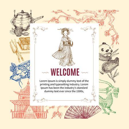 Welcome To Asia Invitation Illustration