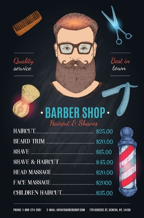 Barber Shop Hipster Style Poster