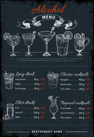 Alcoholic Drinks And Cocktails Menu Illustration