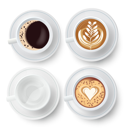 Coffee Cups Set With Latte Art