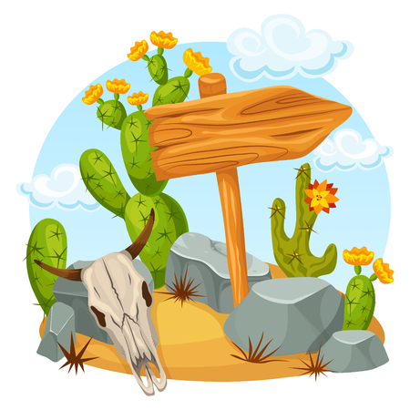 Colorful bright wild west template with blank wooden pointer bull skull cactuses and stones vector illustration Фото со стока - 82689311