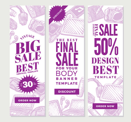 Banners verticales vintage gadgets electrónicos para diseño publicitario con dispositivos portátiles modernos en la ilustración de vector de estilo boceto Ilustración de vector