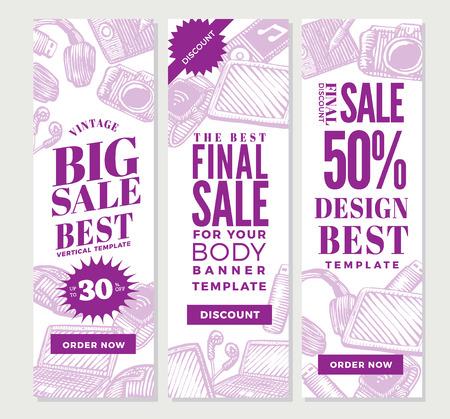 Banners verticales vintage gadgets electrónicos para diseño publicitario con dispositivos portátiles modernos en la ilustración de vector de estilo boceto