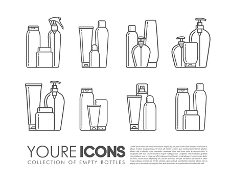 Blank cosmetic packages set with bottles tubes and containers of products for bath isolated vector illustration