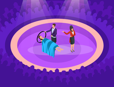Isometric magic show concept with illusion of woman levitation on scene vector illustration