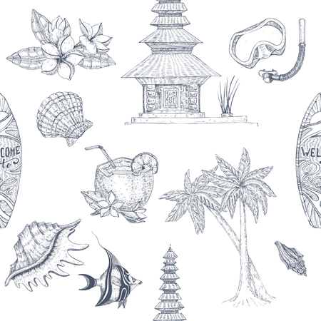 Isolated hand drawn bali seamless elements set in monochrome pattern with balinese symbols on blank background vector illustration