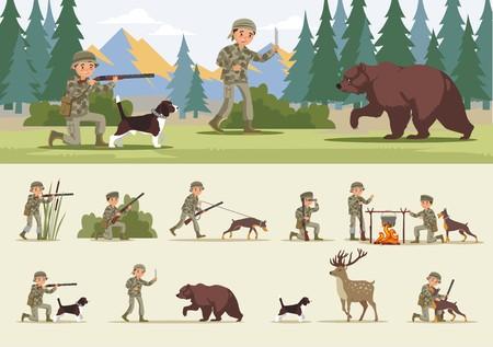 カラフルな狩猟のコンセプト  イラスト・ベクター素材
