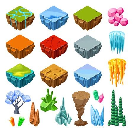 Isometrische Bright Game landschapspictogrammen collectie Stockfoto - 82742082