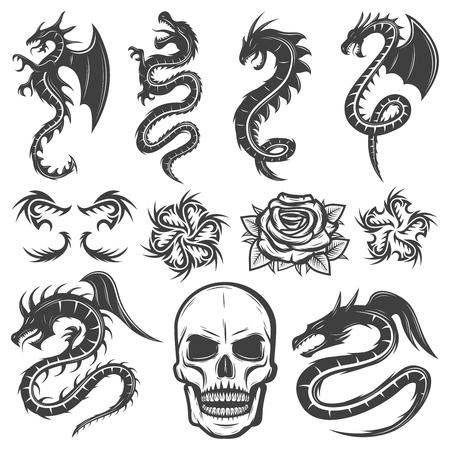 Colección vintage de tatuajes monocromos