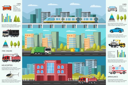 City Transport Infographic Horizontal Banners