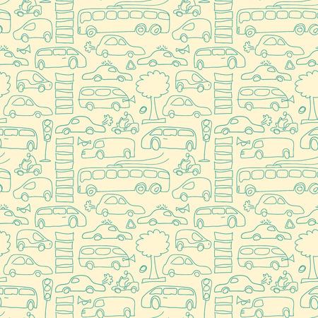 Hand Drawn Transport Seamless Pattern 向量圖像