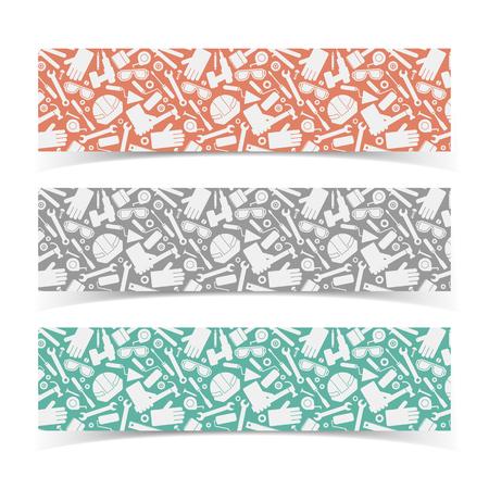 Mechanische hulpmiddelen horizontale banners geplaatst geïsoleerde vlakke vectorillustratie
