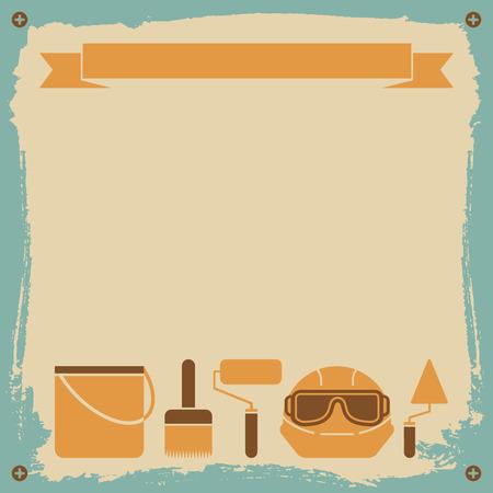改装ワーカー背景ブラシ ペイントとヘルメット フラット ベクトル イラスト