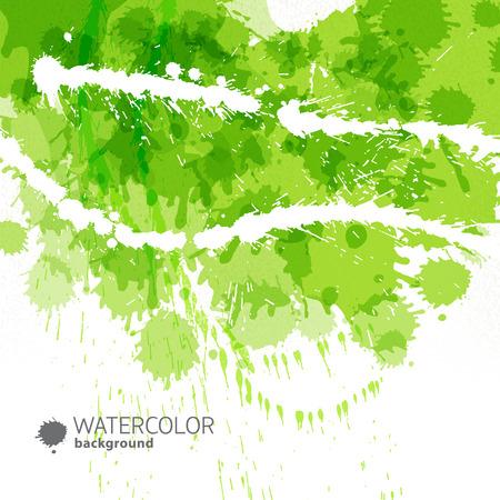 抽象的な緑色の背景の色を撫で点滴や塗料とタイトルのベクトル図の水たまり