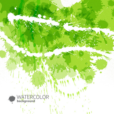 Abstract green background with colores stroked drips and puddles of paint and title vector illustration Illustration