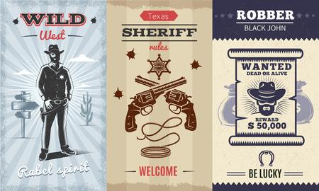 Vintage Wild West verticale banners