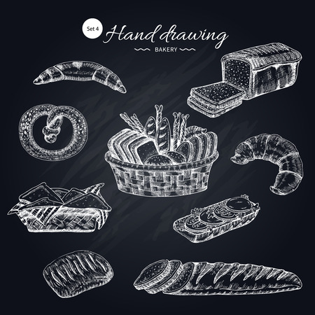 Flour Products Hand Drawn Collection Stock Vector - 82872823