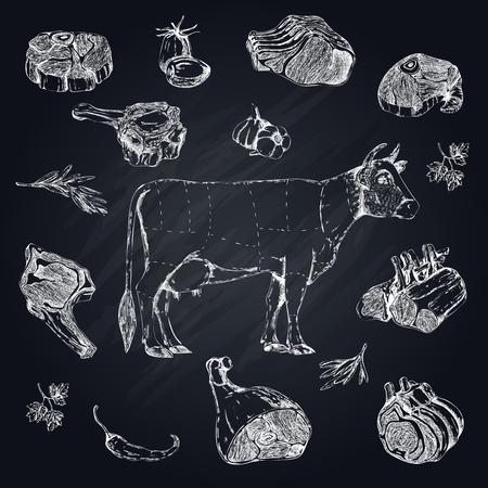 Vlees Monochrome Hand getrokken Set Stock Illustratie