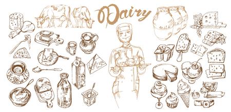 手描きの乳製品セット