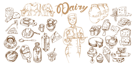 Hand Drawn Dairy Products Set Ilustracja