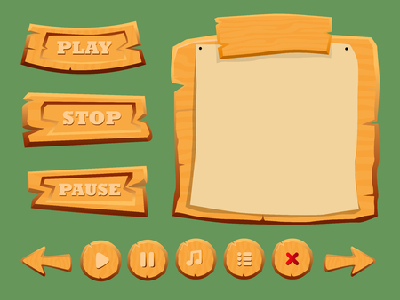 pause button: Game Wooden Interface Elements Set