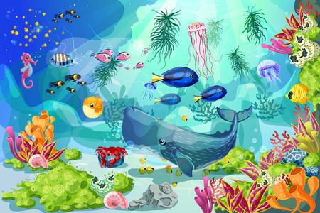 만화 다채로운 해양 수중 생활 배경