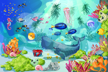 Cartoon colorato subacquea sfondo subacqueo vita Archivio Fotografico - 82874888