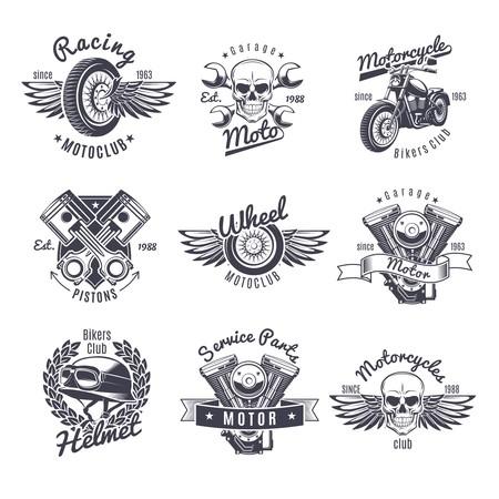 Vintage monochroom motorfiets etiketten instellen
